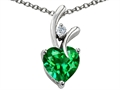 Original Star K™ Heart Shape 8mm Simulated Green Tsavorite Garnet Pendant