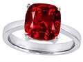 Original Star K 8mm Cushion Cut Solitaire Engagement Ring with Created Ruby