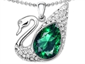 Original Star K Love Swan Pendant With Pear Shape Simulated Emerald