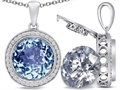 Switch-It Gems 2in1 Round 10mm Simulated Aquamarine Pendant with Interchangeable Simulated Diamond Included
