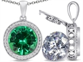 Switch-It Gems 2in1 Round 10mm Simulated Emerald Pendant with Interchangeable Simulated Diamond Included