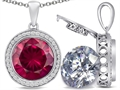 Switch-It Gems™ 2in1 Round 10mm Simulated Ruby Pendant with Interchangeable Simulated Diamond Included
