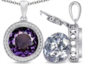 Switch-It Gems™ 2in1 Round 10mm Simulated Alexandrite Pendant with Interchangeable Simulated Diamond Included
