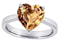 Original Star K Large 10mm Heart Shape Solitaire Engagement Ring With Simulated Imperial Yellow Topaz