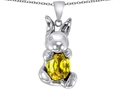 Original Star K™ Love Bunny Pendant With Simulated Citrine Oval 10x8mm