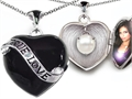 Original Star K True Love Black Enamel Locket With 7mm Round Simulated Pearl Surprise