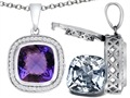 Switch-It Gems 2in1 Cushion 10mm Simulated Alexandrite Pendant with Interchangeable Simulated Diamond Included