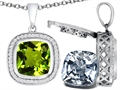 Switch-It Gems 2in1 Cushion 10mm Simulated Peridot Pendant with Interchangeable Simulated Diamond Included