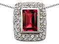 Original Star K™ 9x6mm Octogon Emerald Cut Created Ruby Pendant