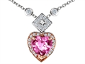 Original Star K Two Toned Heart Shape Created Pink Sapphire Necklace