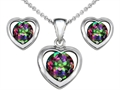 Original Star K™ Rainbow Mystic Topaz Heart Earrings with matching Pendant