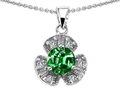 Original Star K Flower Pendant With Round 6mm Simulated Emerald