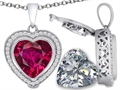Switch-It Gems 2in1 Heart 10mm Simulated Ruby Pendant with Interchangeable Simulated Diamond Included