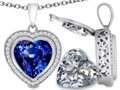 Switch-It Gems 2in1 Heart 10mm Simulated Sapphire Pendant with Interchangeable Simulated Diamond Included