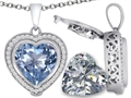Switch-It Gems™ 2in1 Heart 10mm Simulated Aquamarine Pendant with Interchangeable Simulated Diamond Included
