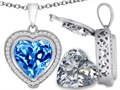 Switch-It Gems™ 2in1 Heart 10mm Simulated Blue Topaz Pendant with Interchangeable Simulated Diamond Included