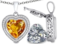Switch-It Gems 2in1 Heart 10mm Simulated Citrine Pendant with Interchangeable Simulated Diamond Included