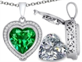 Switch-It Gems 2in1 Heart 10mm Simulated Emerald Pendant with Interchangeable Simulated Diamond Included