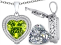 Switch-It Gems 2in1 Heart 10mm Simulated Peridot Pendant with Interchangeable Simulated Diamond Included