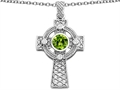 Celtic Love by Kelly™ Celtic Cross pendant with 7mm Round Simulated Peridot