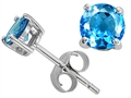 Tommaso Design Round Genuine Blue Topaz Earring Studs