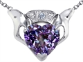 Celtic Love by Kelly™ Claddagh Love Pendant With 8mm Heart Simulated Alexandrite and Genuine Diamond