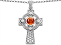 Celtic Love by Kelly™ Celtic Cross pendant with 7mm Round Simulated Orange Mexican Fire Opal