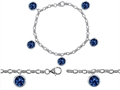 Original Star K High End Tennis Charm Bracelet With 5pcs 7mm Round Created Sapphire