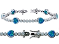 Original Star K™ High End Tennis Bracelet With 6pcs 7mm Heart Shape Simulated Blue Opal