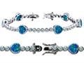 Original Star K™ High End Tennis Bracelet With 6pcs 7mm Heart Shape Created Blue Opal