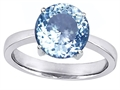 Original Star K™ Large Solitaire Big Stone Ring with 10mm Round Simulated Aquamarine