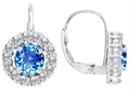 Original Star K Lever Back Dangling Earrings With 6mm Round Genuine Blue Topaz