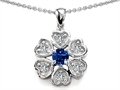 Original Star K Flower Pendant With Round 4mm Created Sapphire