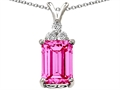 Original Star K Large Emerald Cut 14x10mm Created Pink Sapphire Pendant