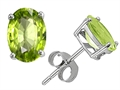 Original Star K™ Classic Oval Earring Studs with Genuine Peridot