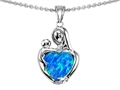 Original Star K Loving Mother With Child Hugging Pendant With Heart Shape 8mm Created Blue Opal