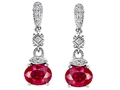 Original Star K Oval Created Ruby Hanging Drop Earrings