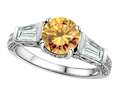Original Star K Round 7mm Simulated Imperial Yellow Topaz Engagement Ring