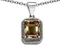 Original Star K Bali Style Emerald Cut 10x8mm Genuine Smoky Quartz Pendant