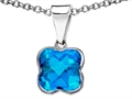Tommaso Design Clover Genuine Blue Topaz Pendant