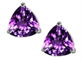 Original Star K Trillion 7mm Genuine Amethyst Earring Studs