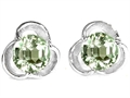Original Star K™ Round Genuine Green Amethyst Flower Earrings Studs