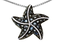 Original Star K Starfish Pendant With Round Simulated Aquamarine