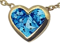 Tommaso Design™ Invisible Set Genuine Blue Topaz Heart Pendant
