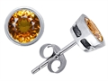 Original Star K™ Classic Bezel Set Earring Studs with Round 6mm Genuine Citrine