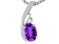 Tommaso Design Oval Genuine Amethyst Pendant