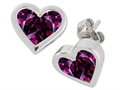 Tommaso Design Invisible Set Genuine Rhodolite Heart Earrings Studs