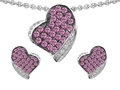 Original Star K Simulated Pink Sapphire Heart Shape Love Pendant Box Set With Matching Earrings