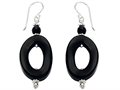 Noah Philippe™ Simulated Black Onyx Oval Hoop Earring Drops