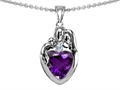 Original Star K™ Loving Mother And Father With Child Family Pendant With Heart Shape 8mm Simulated Amethyst